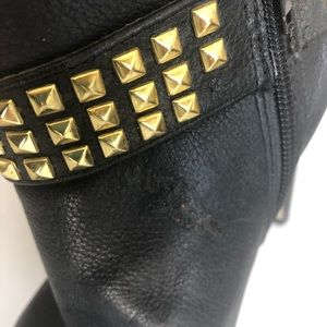 a8105c445a2 Dolce Vita Black Ankle Boots with Gold Stud Detail